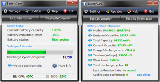 Battery Care 0.9 phần mềm test pin laptop