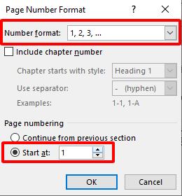 cách đánh số trang từ trang bất kỳ