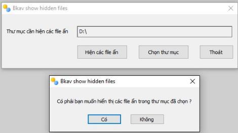 PM FixAttrb Bkav hiện file ẩn trong usb