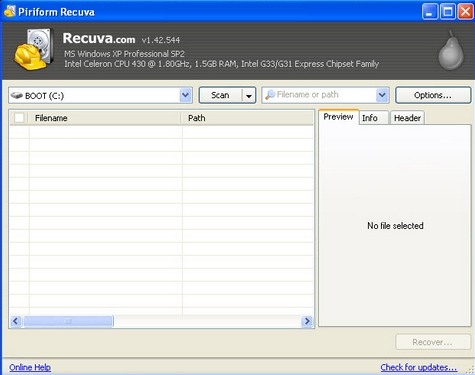 Hiển thị file ẩn trong usb bằng PM Recuva
