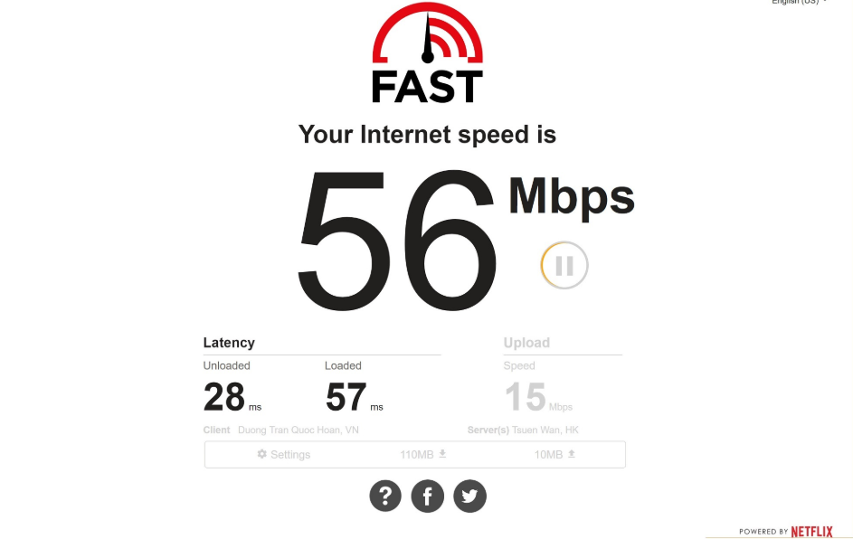 Cách kiểm tra tốc độ mạngFast.com